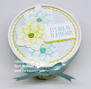 VIDEO and FREE Template on my blog to wrap this Sweet Cups. www.barbstamps.com Painted Seasons DSP part of a bundle FREE with a $100 order through March 31. #stampinup #paintedseasons #sweetcups
