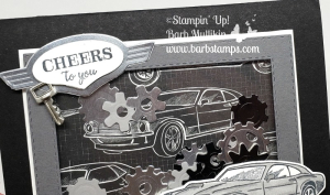 VIDEO for this shaker card using the Geared Up Garage is on my blog, check out my Geared Up Garage Online Class  www.barbstamps.com #stampinup #barbstamps #gearedupgarage #mancard #shakercard