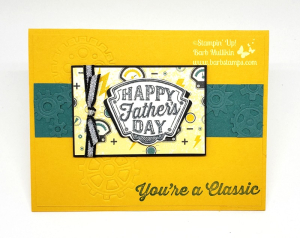 VIDEO for this Father's Day Card on my blog www.barbstamps.com Card uses the Geared Up Garage Bundle, check out my Online Class for this bundle. #stampiup #barbstamps #mancards #masculinecards #manly