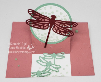 VIDEO for this Center Cut Easel Card on my blog, retiring items discounted www.barbstamps.com #stampinup #detaileddragonfl