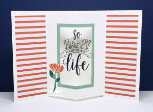 Video for this Tunnel Card on my blog www.barbstamps.com uses the Happiness Blooms Suite of products, bloom by bloom, #stampinup #barbstamps #happinessblooms #tunnelcard #funfold #fancyfold