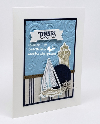 VIDEO on my blog for this card see how I inked the sailboat with daubers and markers for this really nifty look. #sailinghome #stampinup #manlycards #masculine
