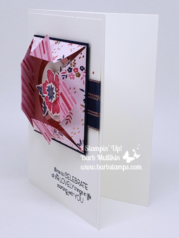 VIDEO on my blog for this Origami Window Fold card with the Everything is Rosy Product Medley www.barbstamps.com