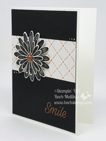 Flowers are embossed with Shimmery Black Embossing Powder, super sparkly!! www.barbstamps.com