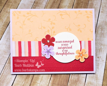 Thoughtful blooms paper saving trick video on my blog www.barbstamps.com #stampinup #thoughtfulblooms #smallbloompunch #purpleposy #bestdressed