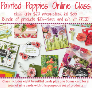 Painted poppies announce
