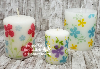 VIDEO showing you how to stamp on candles on my blog www.barbstamps.com EARN this stamp set FREE