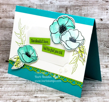 Painted Poppies VIDEO on  my blog www.barbstamps.com #stampinup #paintedpoppies #barbstamp