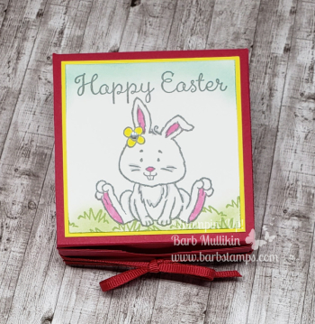 VIDEO and printable tutorial on my blog www.barbstamps.com #welcomeeaster #treatbox #stampinup #barbstamps