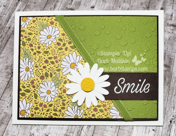 VIDEO Diagonal Daisy card on  my blog www.barbstamps.com #stampinup #ornategarden #daisylane #daisypunch #ornatefloral