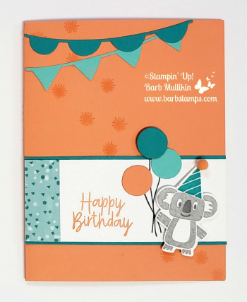 VIDEO for this card on my blog. Purchase my Online Class 9 cards (3 are fun folds), 2 treat holders www.barbstamps.com #stampinup #bonanzabuddies #bonanzabirthday #savethekoalas