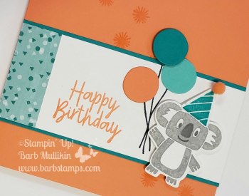 VIDEO for this card on my blog. Purchase my Online Class 9 cards (3 are fun folds), 2 treat holders www.barbstamps.com #stampinup #bonanzabuddies #bonanzabirthday #savethekoalasgrapefruit