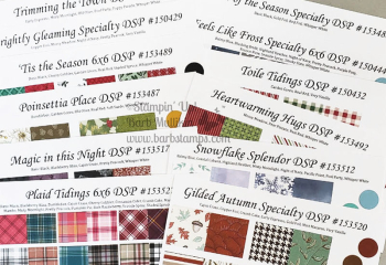 Order your paper sampler chart kits www.barbstamps.com use these to assist in choosing colors and designs for your projects