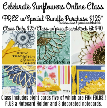 Celebrate Sunflowers Online Class, get it FREE with a precut cardstock kit when you purchase my special bundle of products. www.barbstamps.com #stampinup #celebrate sunflowers #diy #papercrafting