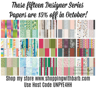 15% off patterned papers in October www.shoppingwithbarb.com Designer Series Paper Sale DSP