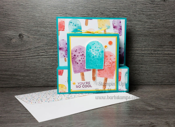 Sweet Ice Cream class includes this amazing Step Panel Fun Fold Card www.barbstamps.com