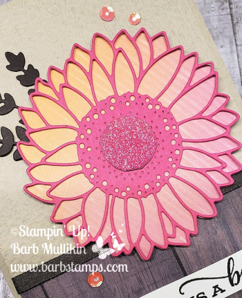 VIDEO tutorial on my blog for this pink sunflower card www.barbstamps.com #celebratesunflowers #stampionup #barbstamps #rainbowglimmerpaper #artistryblooms