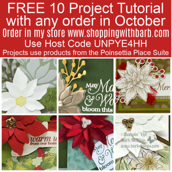 FREE 10 project tutorial using the Poinsettia Petals Bundle with any order in October www.shoppingwithbarb.com